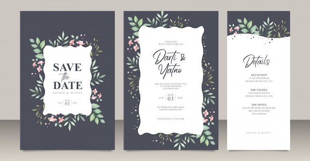Wedding invitation card set template with leaves watercolor