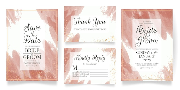 Wedding invitation card set template with watercolor background