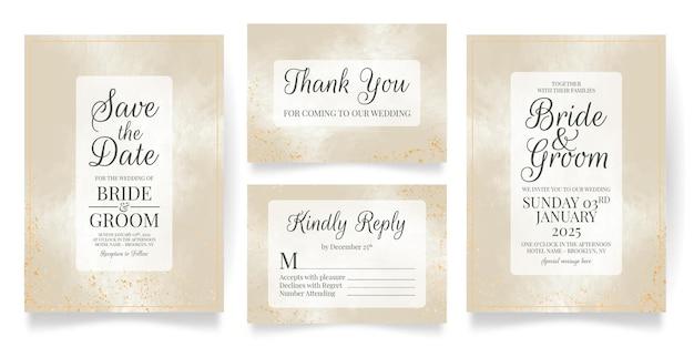 水彩画の背景と結婚式の招待カードセットテンプレート