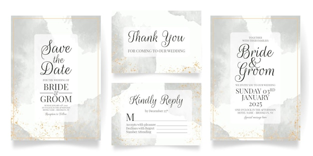 Шаблон свадебного приглашения с акварельным фоном