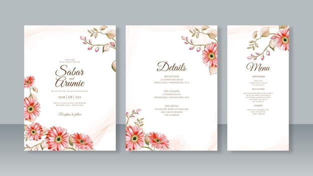 水彩花の絵と結婚式の招待カードセットテンプレート
