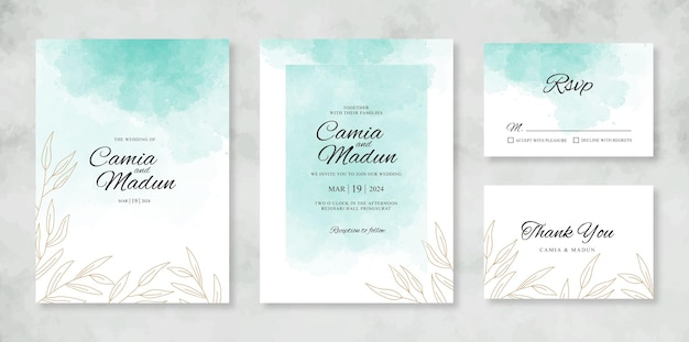 Шаблон свадебного приглашения с акварельным всплеском
