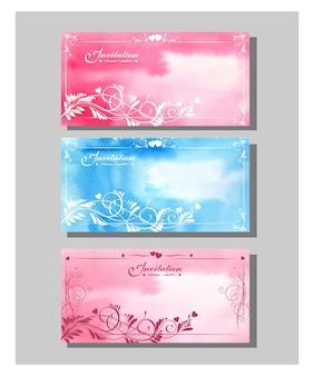 Набор карточек приглашения на свадьбу (карточка благодарности, посадочный талон, приглашение на свадьбу.) вектор шаблона.
