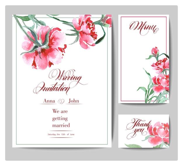 水彩の牡丹と結婚式の招待カードセットベクトルイラスト