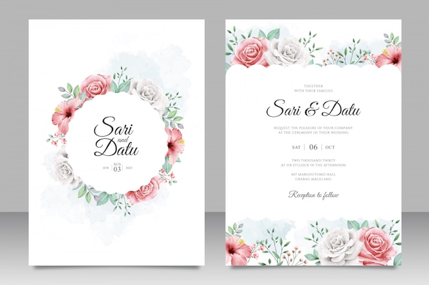Wedding invitation card set with beautiful flowers garden