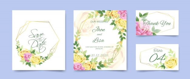Wedding invitation card set with beautiful flowers