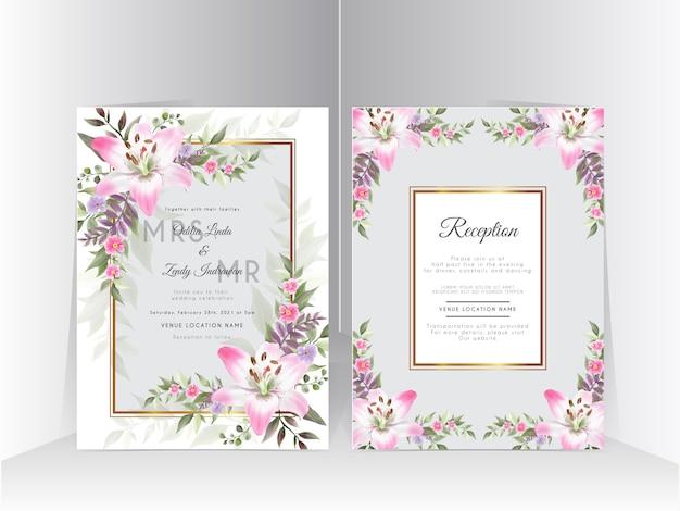美しいユリの花の手描きの結婚式の招待カードセット
