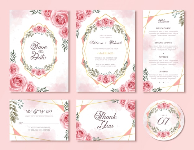 Wedding invitation card set with beautiful pink watercolor floral rose flowers