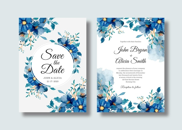 Wedding invitation card set with blue floral watercolor