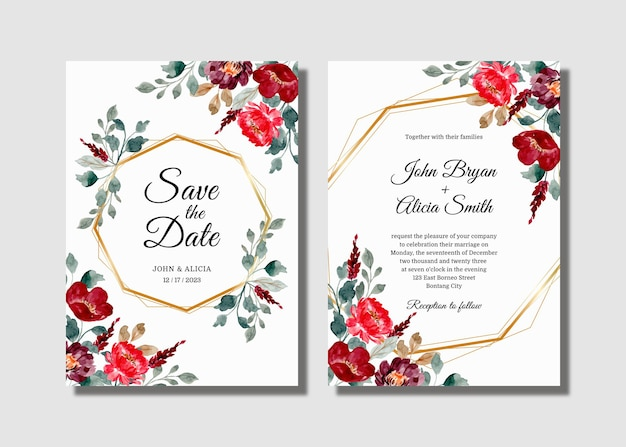 Wedding invitation card set with burgundy floral watercolor