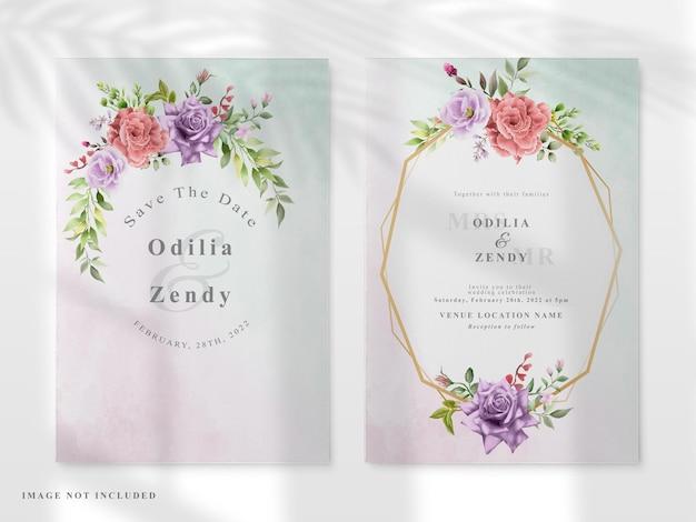 Свадебный пригласительный билет с красочной цветочной рисованной