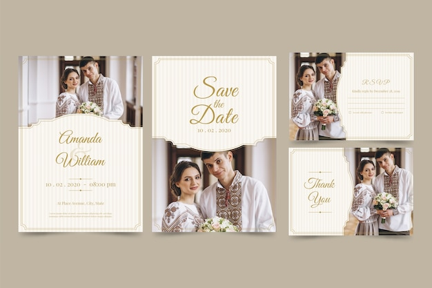 Wedding invitation card set with couple