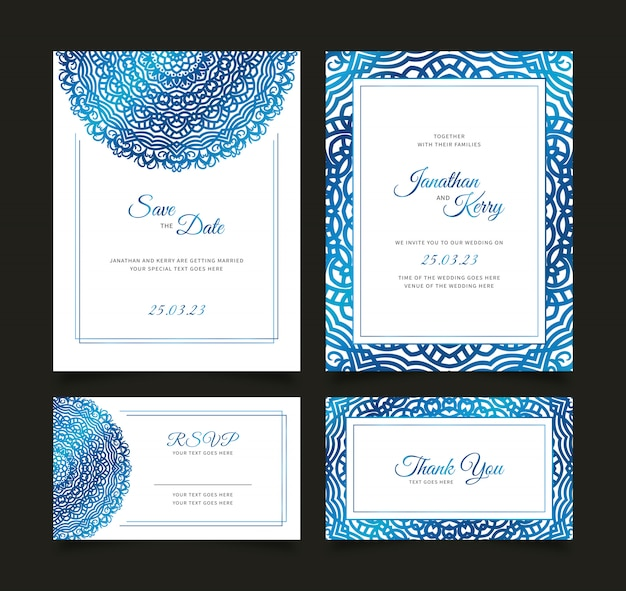 Wedding invitation card set with floral abstract background template