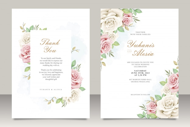 Wedding invitation card set with flowers and leaves