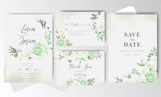 Wedding invitation card set with greenery watercolor floral and leaves
