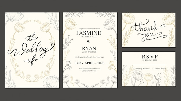 Wedding invitation card set with hand drawn flower and wreath