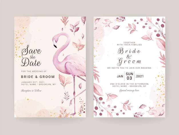 Wedding invitation card set with hand painted pink flamingo and floral watercolor