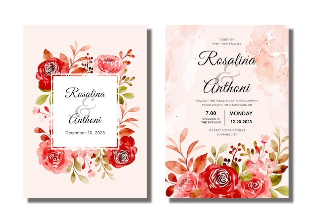 Wedding invitation card set with maroon rose floral watercolor