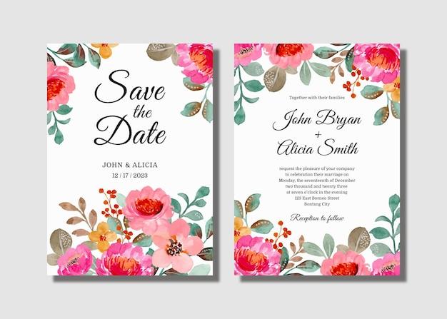 핑크 꽃 수채화로 설정 결혼식 초대 카드