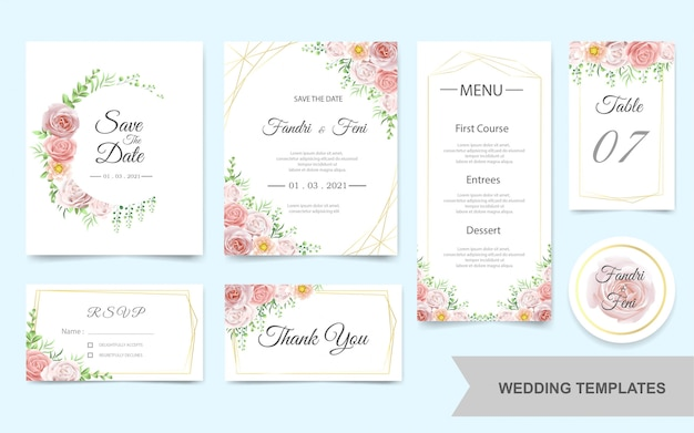 Wedding invitation card set with pink flowers