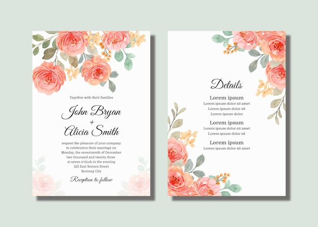 Wedding invitation card set with pink orange watercolor roses
