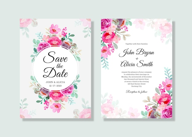 Wedding invitation card set with pink purple floral watercolor