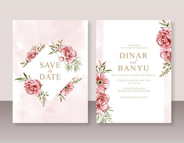 붉은 꽃 수채화 아름다운 그림으로 설정된 결혼식 초대 카드