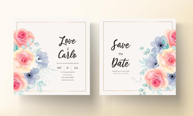 봄 꽃과 잎으로 설정 결혼식 초대 카드