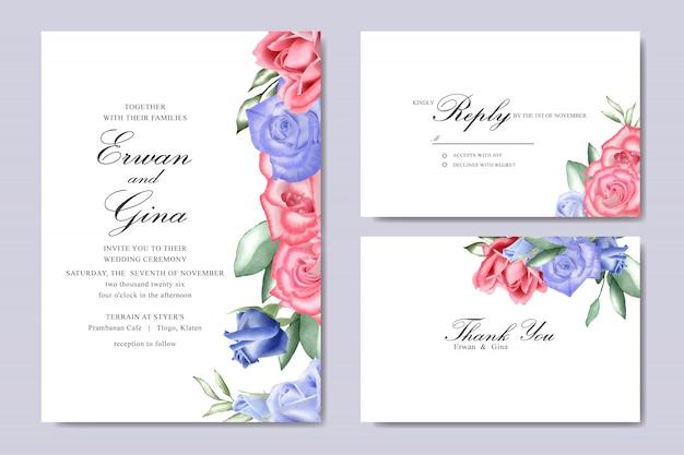 결혼식 초대 카드 수채화 꽃으로 설정 하 고 템플릿을 나뭇잎