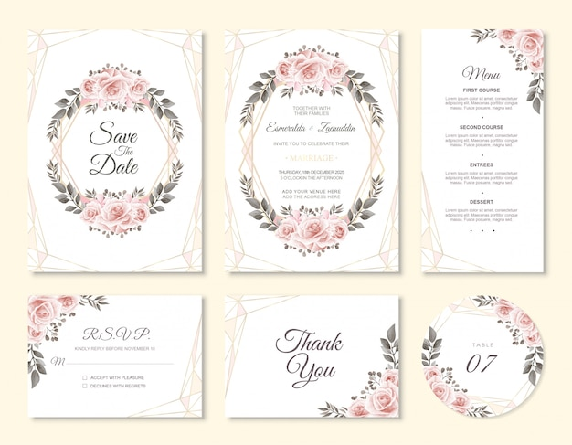 Wedding invitation card set with watercolor flower decoration