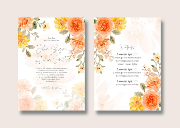 Wedding invitation card set with watercolor rose flower