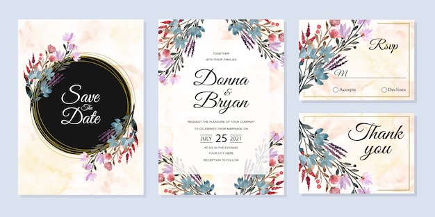 Wedding invitation card set with wild floral watercolor abstract background