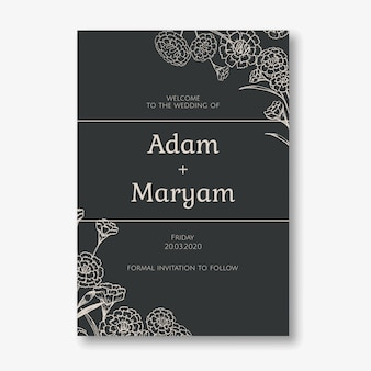 Wedding invitation card simple classic design style with background floral carnation flower ornament decoration template