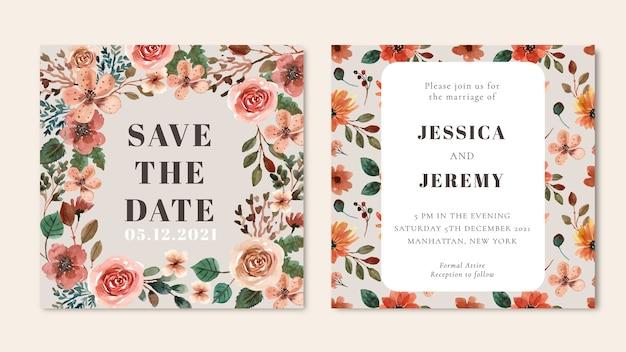 Площадь свадебного приглашения с коричневыми и оранжевыми акварельными цветами и листьями