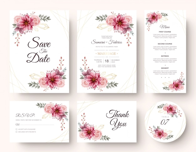 Wedding invitation card stationery set with watercolor flower decoration