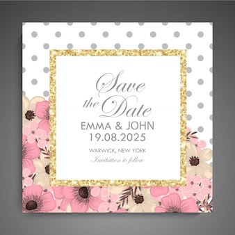 Wedding invitation card suite with flower template