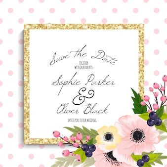 結婚式招待状のカードスイート花templates.vectorイラスト