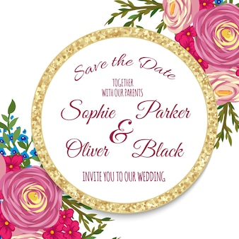 Wedding invitation card suite with flower templates.vector illustration