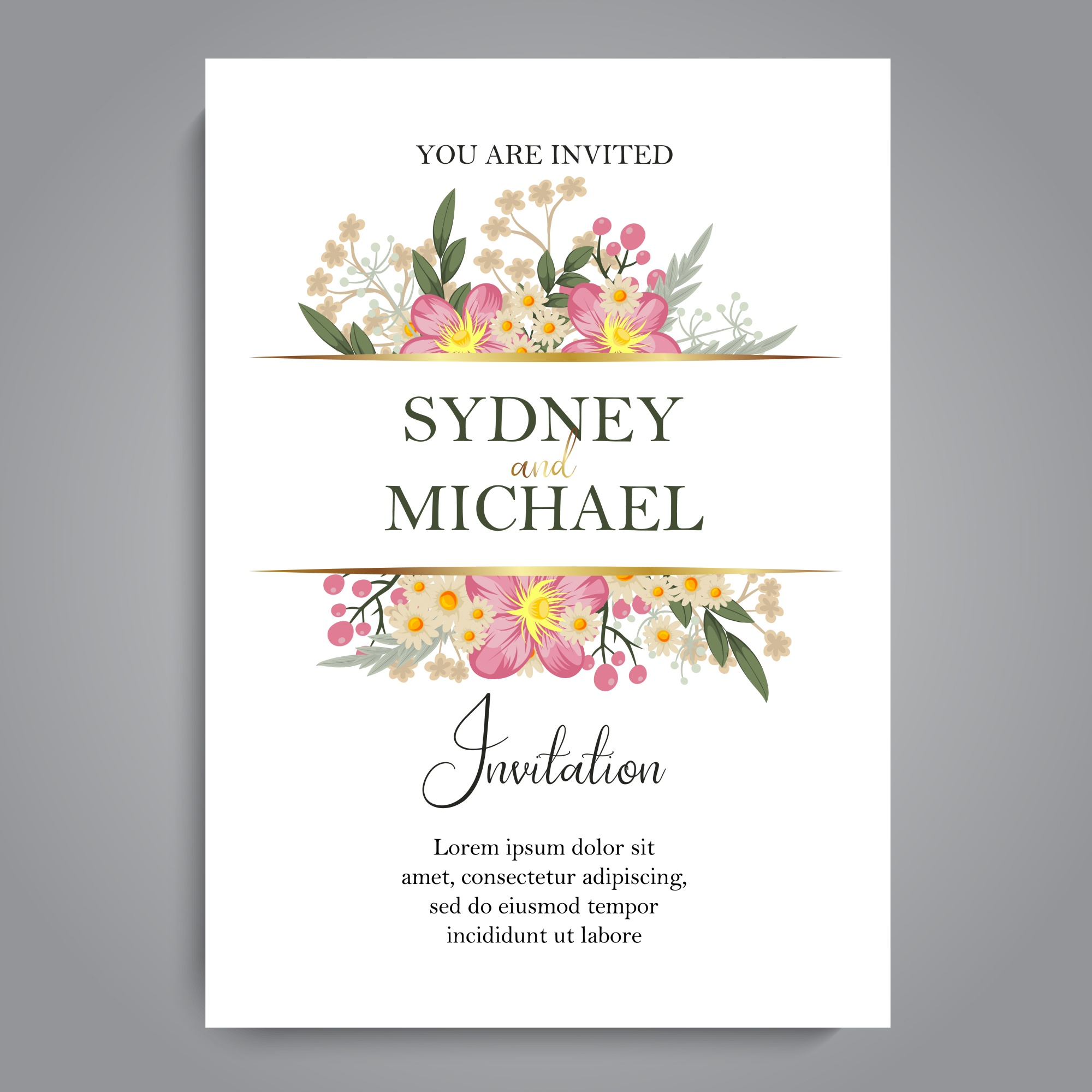 Wedding invitation card suite with flower templates
