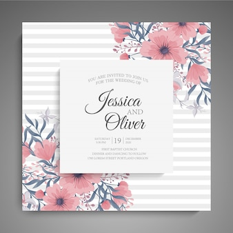 Wedding invitation card suite with flower templates.