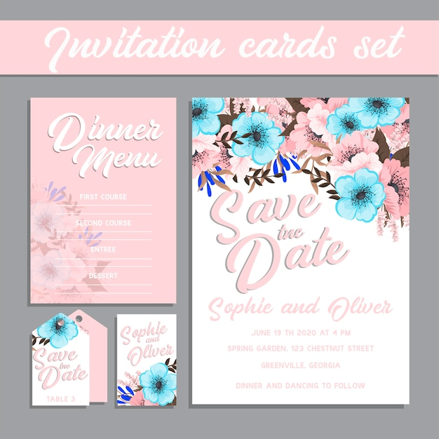 Wedding invitation card suite with flower