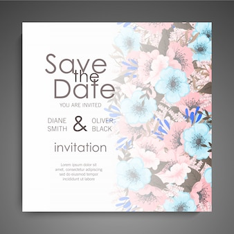 Wedding invitation card suite with flowers. template. vector illustration