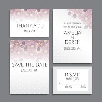 Suite di carte invito a nozze con fiori. modello. illustrazione vettoriale Vettore gratuito