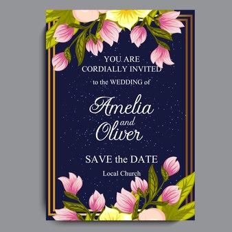 結婚式招待カードスイートには花が付いています。テンプレート