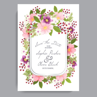 結婚式招待カードスイート花