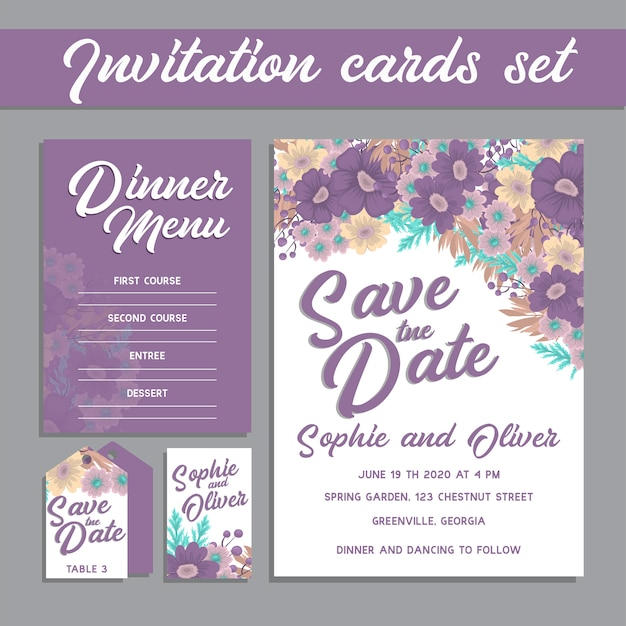 Wedding invitation card suite with flowers.