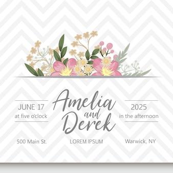 Suite di carte invito a nozze con fiori.