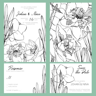 Wedding invitation card suite with romantic black and white narcissus flowers
