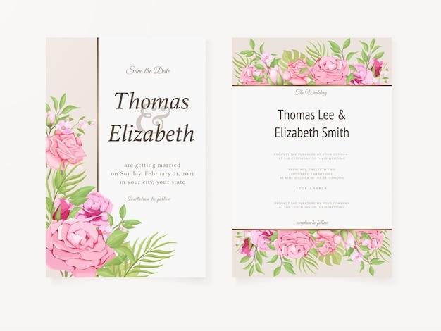 結婚式の招待カード夏の花のテンプレートデザイン