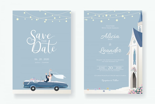 Wedding invitation card template. after church ceremony image.